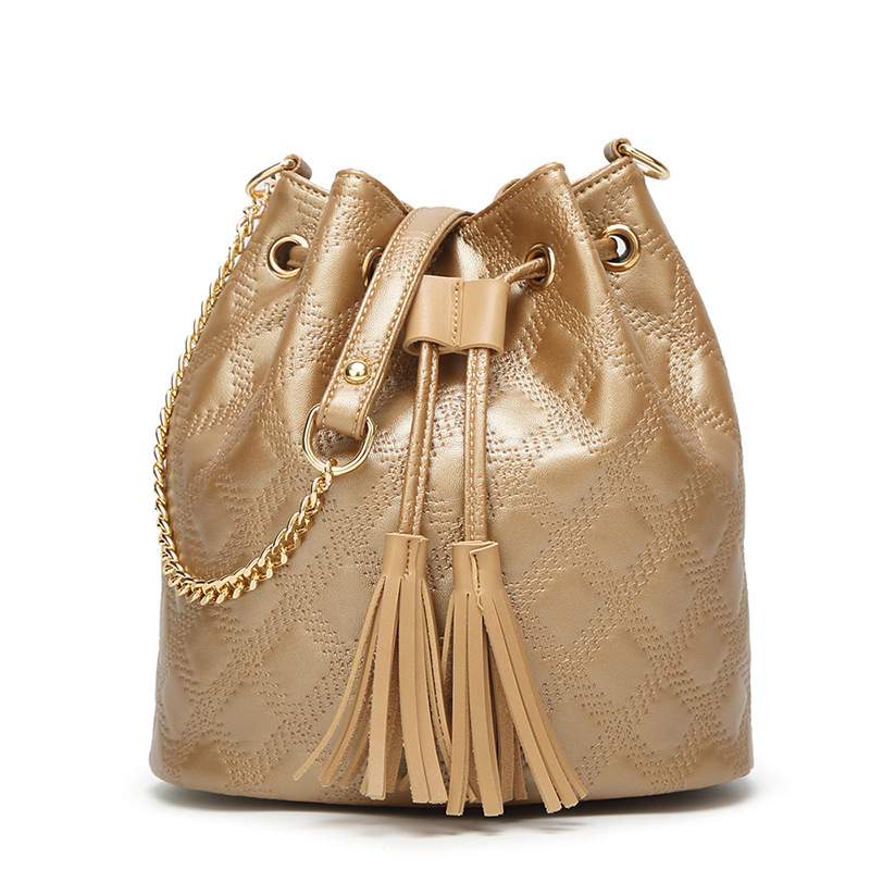2018 New Womens Bucket Bag Korean Version Single Shoulder Bag Fashion Tassel Bag For Women, Drawstring Handbag, Crossbody Bags