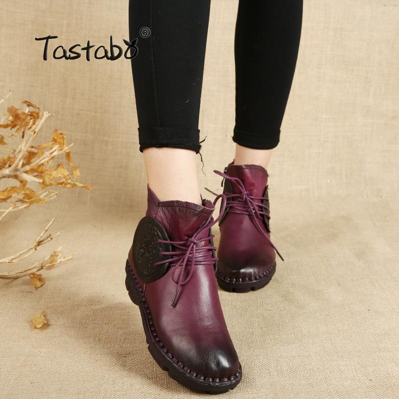 цена Tastabo Handmade Ankle Boots For Women comfortable Flat Boots Real Genuine Leather Shoes Retro Elegant Boots Botines Mujer в интернет-магазинах