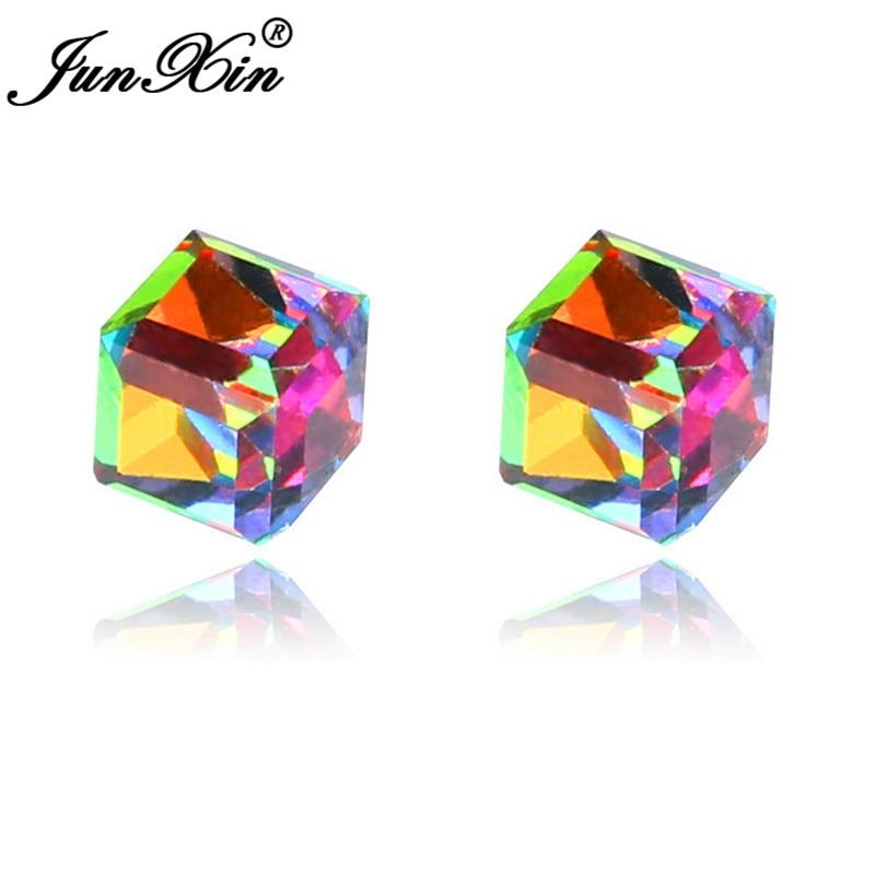 JUNXIN Female Male No Piercing Stainless Steel Magnetic Clip Earrings For Women Men Austrian Crystal Square Earrings Jewelry
