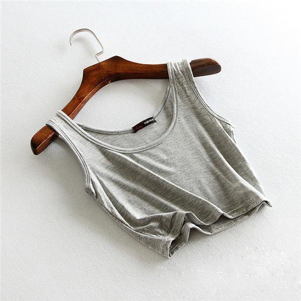 Slim Render Short Women Sleeveless U Croptops Tank Solid Black/White Crop  Tops Vest Tube 11Colors