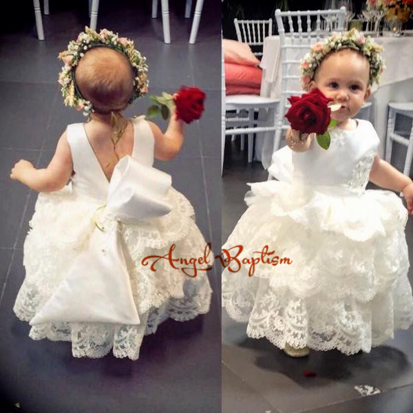 Elegant white lace appliqued flower girl dresses beads tiered backless toddler pageant birthday dress for evening party with bow
