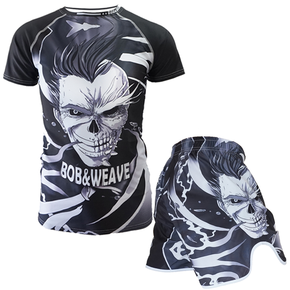 Boxing Set Compression Jersey & Shorts 3D Skull Printing Rashguard KickBoxing Tight Short T-Shirts  Muay Thai MMA Fightwear