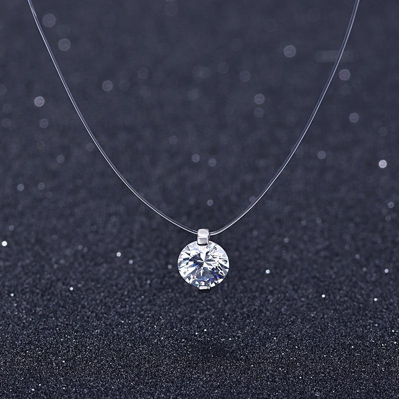 Sommer 925 Silber Stereo Transparent angelschnur stealth halskette Schneeball Kristall Von Österreichischen Schlösser Kette Valentinstag Geschenk