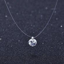 Лето 925 Серебряная стерео прозрачная леска стелс ожерелье снежок Кристалл из австрийских замков цепь подарок на день Святого Валентина