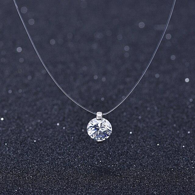 Lato 925 srebrny Stereo przezroczysta żyłka wędkarska stealth naszyjnik śnieżki kryształ z Swarovski zamki dla walentynki prezent