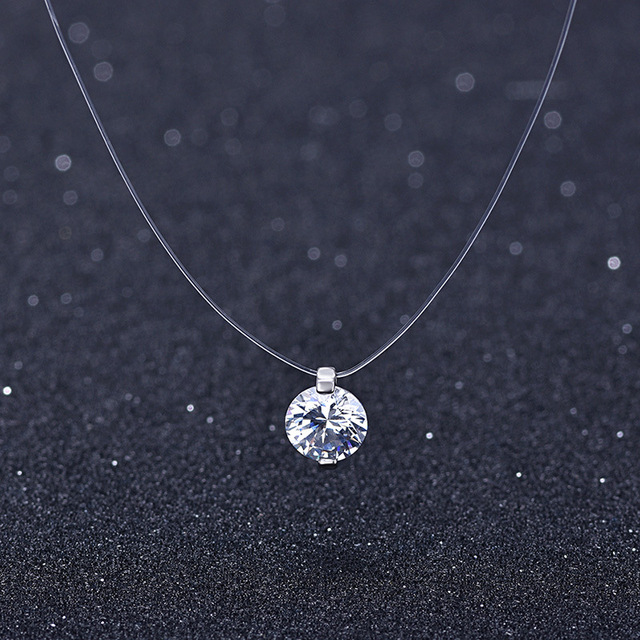 Summer 925 Silver Stereo Transparent fishing line stealth necklace Snowball Crystal From Swarovski Locks Chain Valentine Gift