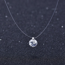 Summer 925 Silver Stereo Transparent fishing line stealth necklace Snowball Crystal From Swarovskis Locks Chain Valentine Gift cheap YUEDE None Pendant Necklaces Women Star Anniversary Classic Figaro Chain TL0020-XBZ Fine 10mm 101612061012 Travel commemorative wedding employee benefits travel commemorative