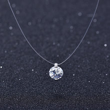 Summer 925 Silver Stereo Transparent fishing line stealth necklace Snowball Crystal From Swarovskis Locks Chain Valentine Gift(China)