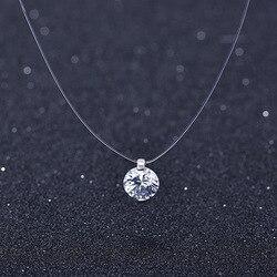 Yaz 925 Gümüş Stereo Şeffaf olta stealth kolye Kartopu Swarovski Gelen Kristal Kilitleri Zincir Sevgililer Hediye