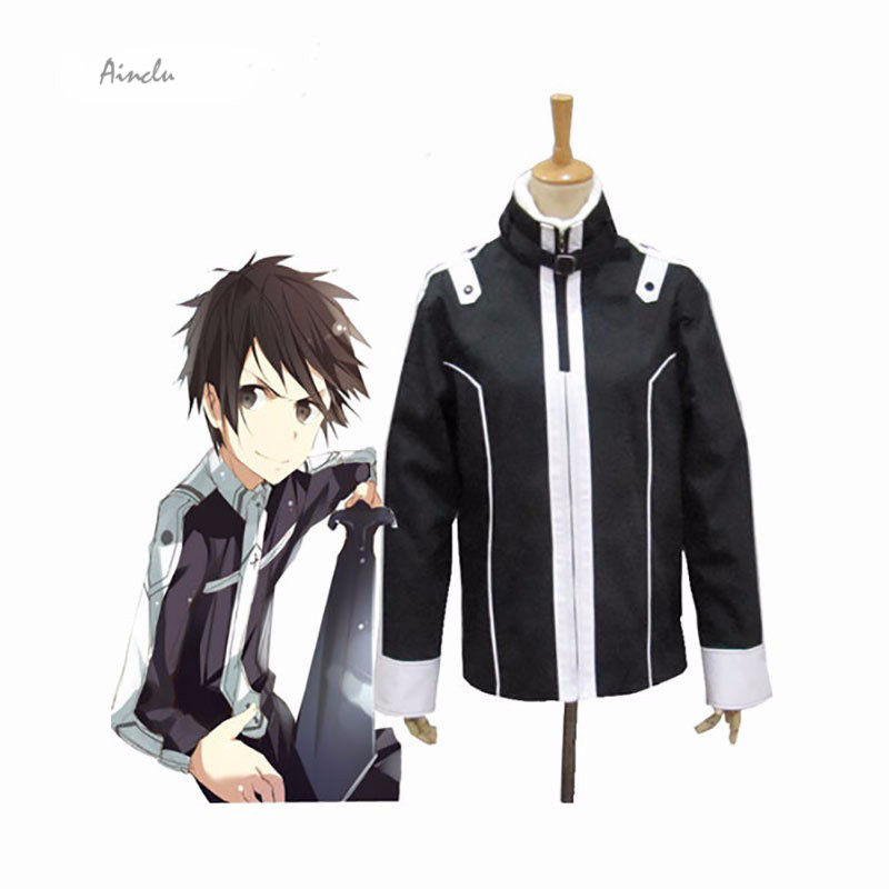 Ainclu FreeShipping Costume Anime Sword Art Online 2 Cosplay Sword Costumes Kirito Black Jackets Hoodie Thick Coat Drop Shipping