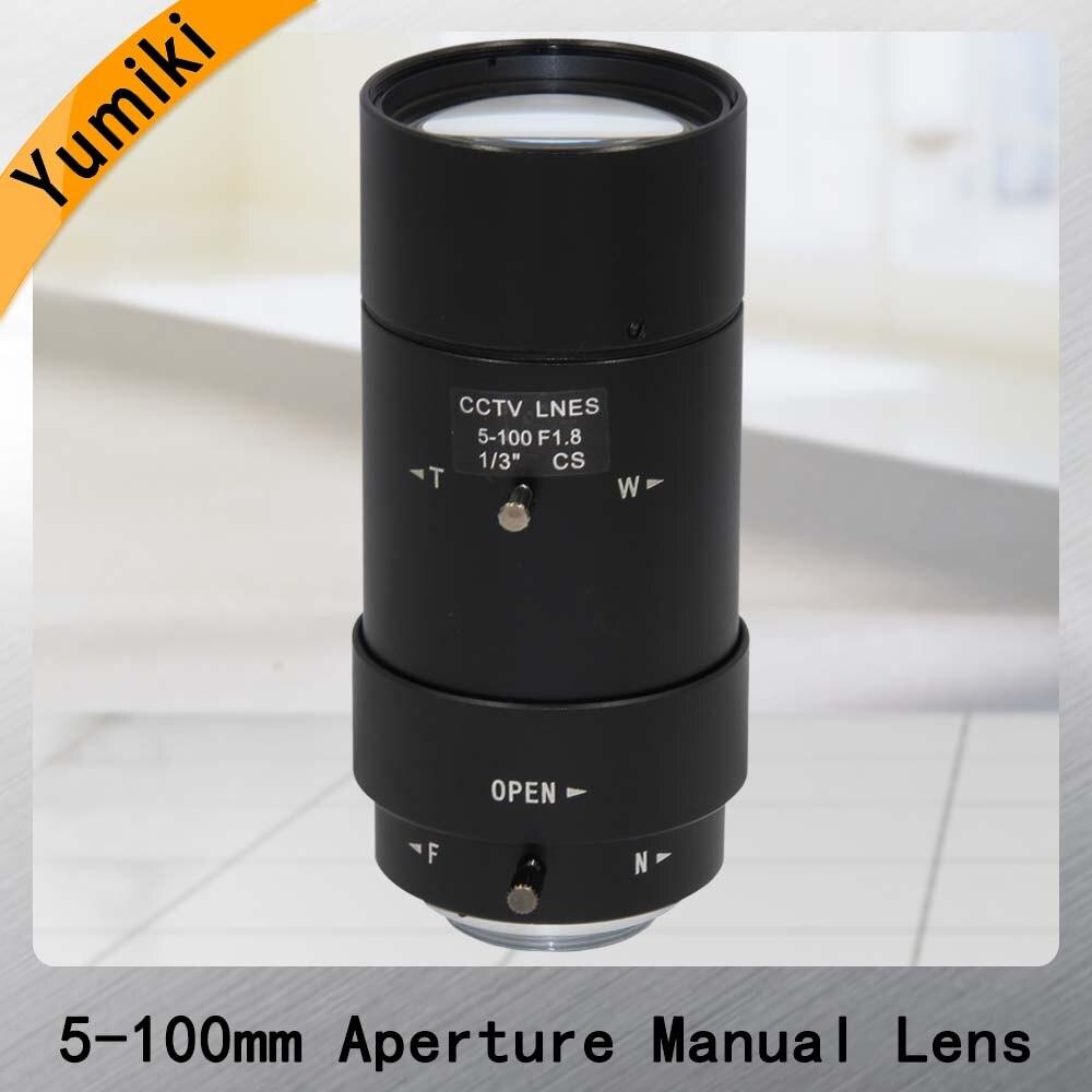 Yumiki 5-100mm Mégapixels MP HD mise au point manuelle manuel iris vari-focal CMOS/CCD SDI CVI CCTV camera lens 1/3 objectif CCTV CS mont