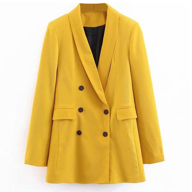 2019 femmes Double boutonnage Long Blazers bureau dame petit costume veste dames loisirs jaune Blazer lâche manteau Streetwear