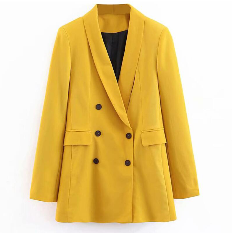 2019 Women Double Breasted Long Blazers Office Lady Small Suit Jacket Ladies Leisure Yellow Blazer Loose Coat Streetwear