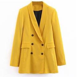 2019 для женщин двубортный длинные пиджаки для офисные женские туфли маленький пиджак дамы досуг желтый Блейзер свободное пальт