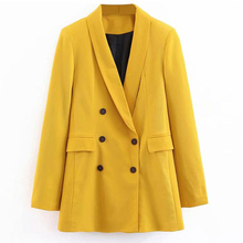 2020 Women Double Breasted Long Blazers Office Lady Small Suit Jacket Ladies Lei