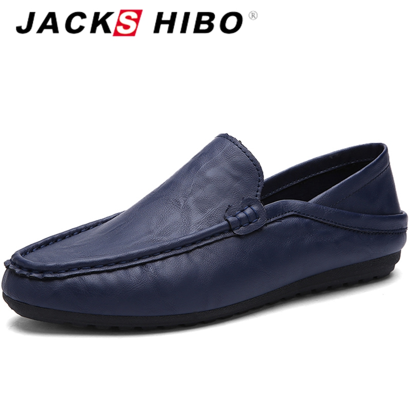 JACKSHIBO Fashion Men Boat Shoes Loafers Slip on Mens Flats Shoes PU Leather Moccasin Chaussure Homme Slipony Driving Shoes ceyue brand men casual shoes high quality men s soft leather slip on loafers male fashion driving shoes boat shoe mens moccasin