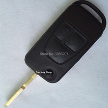 Good Quality For  Mercedes Benz Flip Folding Remote Key Shell Case 4 Track with HU39 Blade  with LOGO