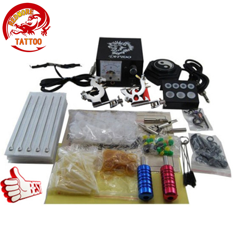 Beginner tattoo starter kits 2 guns machines sets power supply disposable needle pedal tips PTK-914-D4 100pcs disposable tattoo needle and tube 3 4 grip with tip