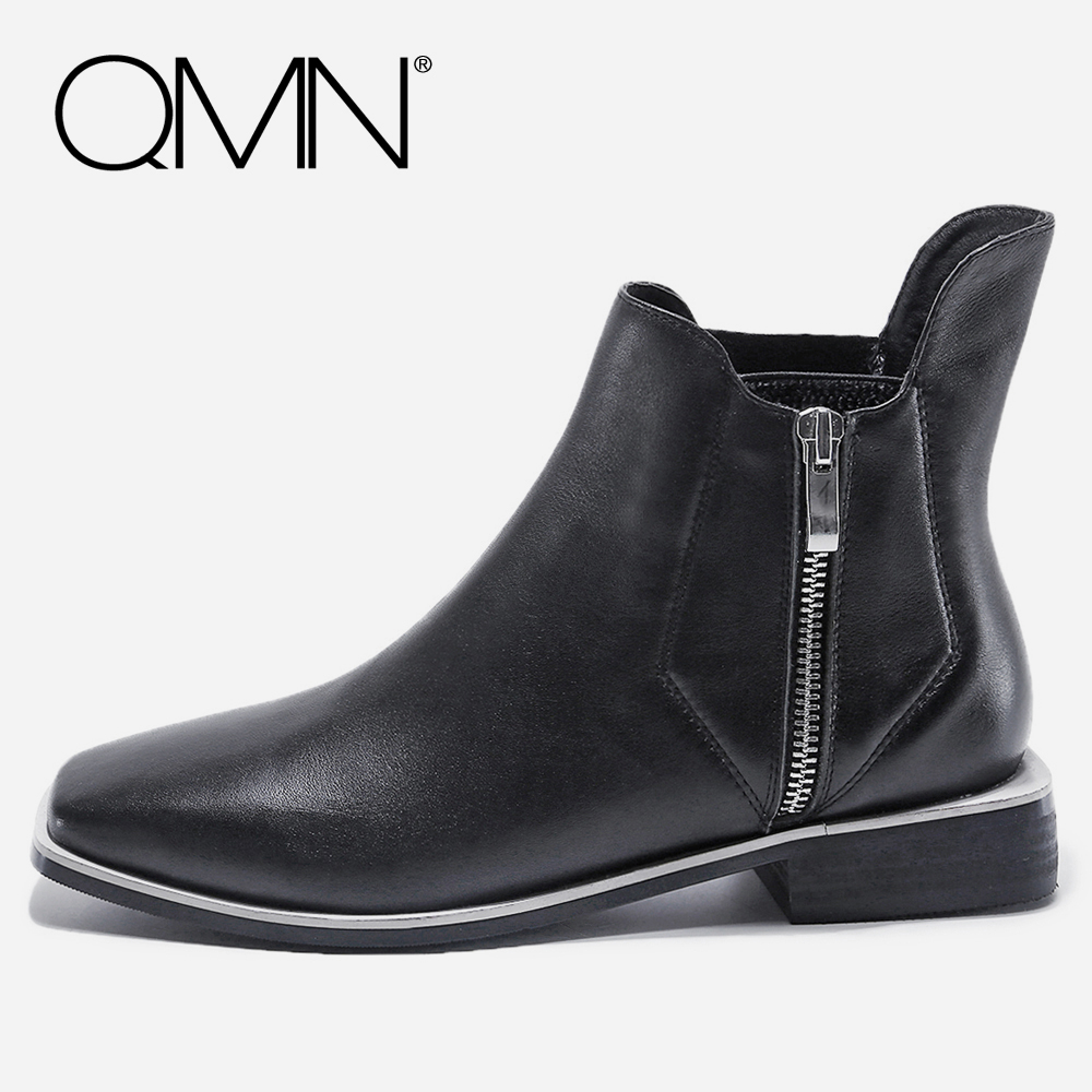 QMN women genuine leather ankle boots for Women Square Toe Motorcycle Boots Shoes Woman Leather Boots Botas Mujer Size 34-40 qmn women crystal trimmed brushed embossed leather brogue shoes women square toe oxfords shoes woman genuine leather flats 34 43