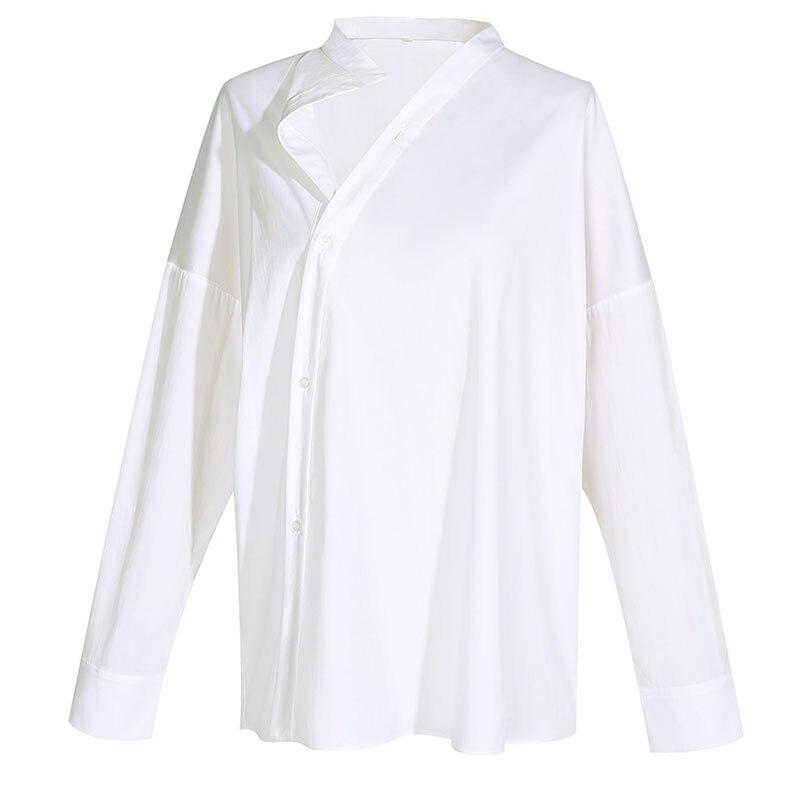HG blanc lâche Blouse femmes irrégulière mince mode bouton élégant col montant loisirs 2019 nouveau automne chemises dames ZYQ1168 - 6
