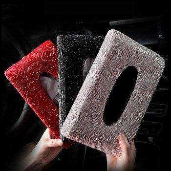 Роскошная Алмазная коробка для салфеток для автомобиля, полностью кристаллический Диамант, тип коробки для салфеток, держатель для женщин, ...