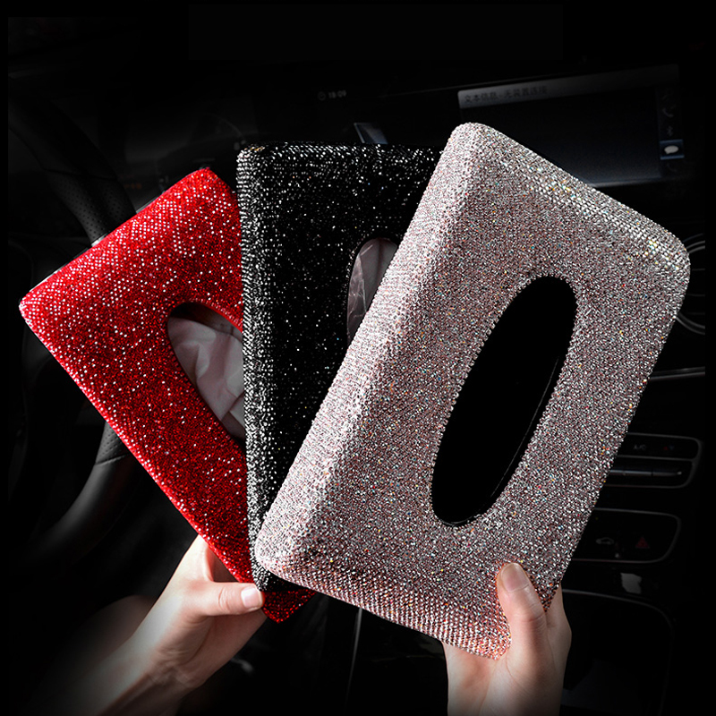 Luxury Diamond Car Tissue Box Full Crystal Diamante Block Type Tissue Boxes Holder Women Car Styling Auto Accessories