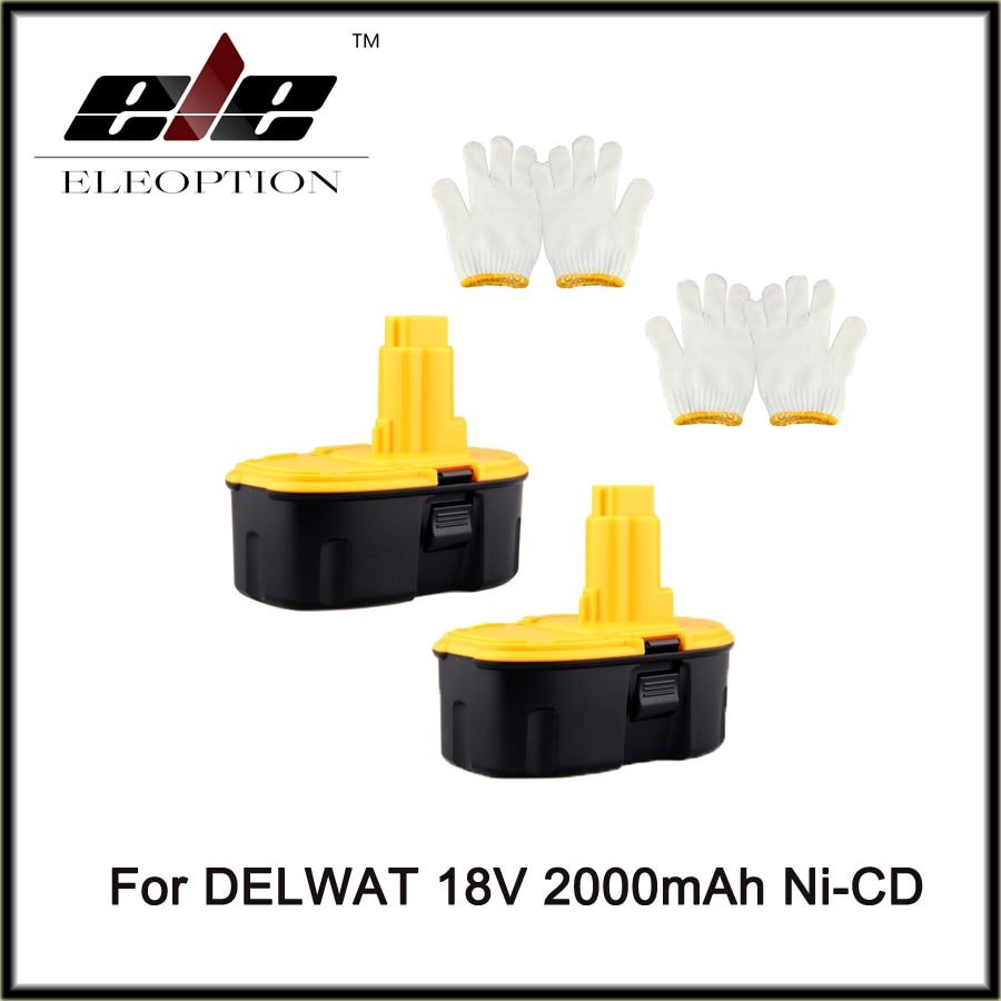 Eleoption 2 pcs18 Volt 18V 2.0mAh 2000mah Rechargeable Power Tool Battery for DeWALT DC9096-1 18V XRP Batteries набор bosch ножовка gsa 18v 32 0 601 6a8 102 адаптер gaa 18v 24