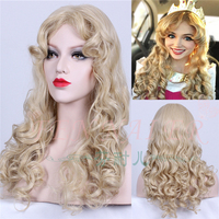 Fairy Sleeping Beuty Women Gold Wavy Wig Role Play Princess Aurora Golden Wig Costumes