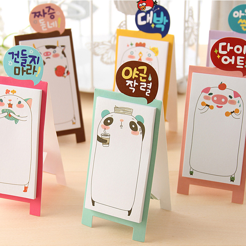 Cartoon Animals Lovely Mini Memo Pad Sticky Notes Shopping Check List Escolar Papelaria School Supply Post it Label
