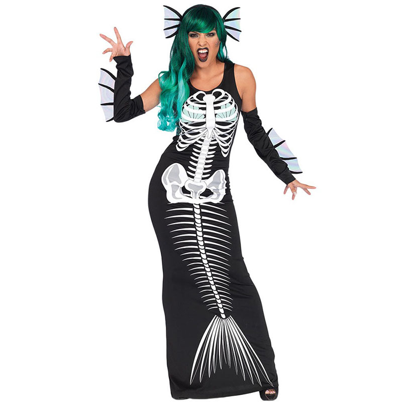 1a4ac1cbdd Ladies Halloween Scary Joker Fish Bone Costume Devil Mermaid Cosplay Long  Sleeveless Dress Fancy Horror Outfit For Women