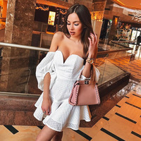 Sexy White Half Puff Sleeves Mini Dresses Strapless Low Cut V Neck Party Dress Backless Night Club Dress