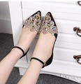 elegant mary jane women crystal rhinestone clear pointy toe lace cut out ankle strap flat heel sandals oxfords ballerinas flats