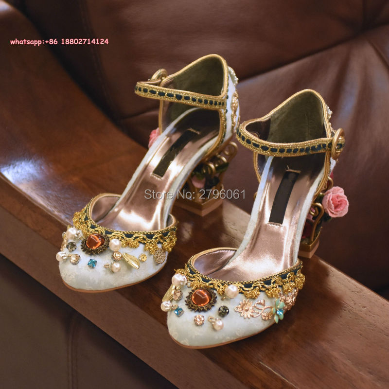 Diamond Rhinestone Lady Buckle Strap Woman Party Dress Pumps Shoes Wedding Lace Velvet High Heels Floral Heels Sandals Shoes
