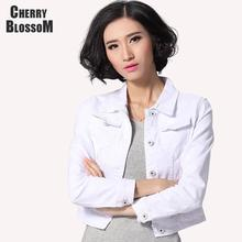 Denim Jacket Women Short Jeans Overcoat Ladies Jackets Tops Turn Down Collar Slim White Black Jeans Top For Women High Quality