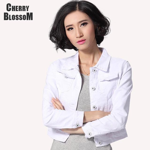 Jaqueta jeans Mulheres calças de Brim Curtas Senhoras do Sobretudo Jaquetas Tops Turn Down Collar Magro Branco Preto Top de Jeans Para As Mulheres de Alta qualidade