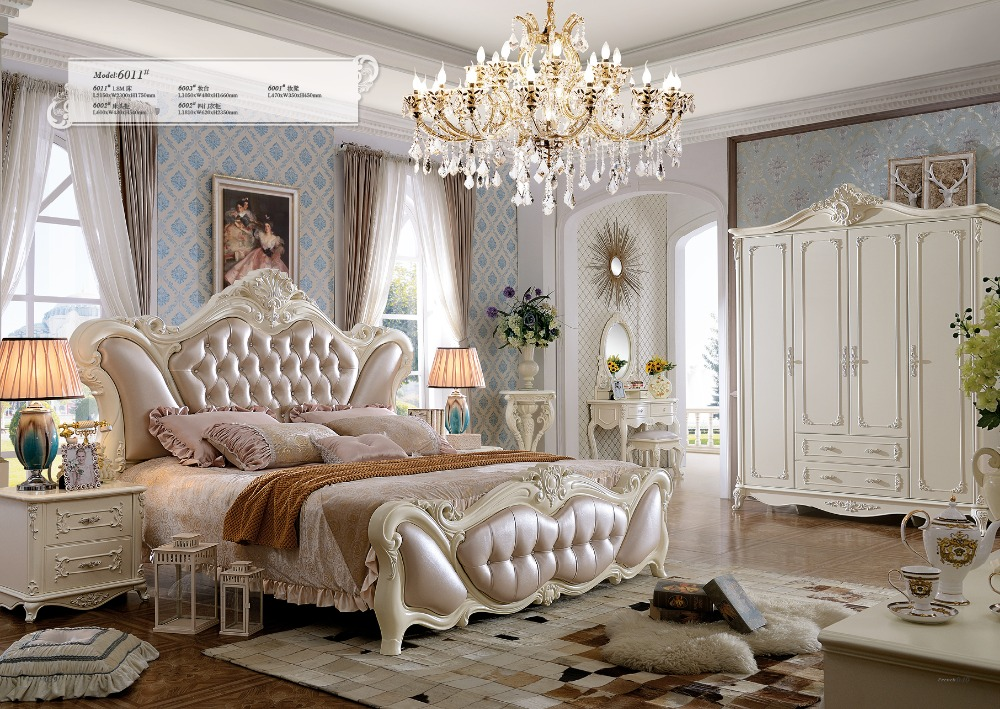 2016 Promotion Real King Antique No Genuine Leather Bedroom Furniture Muebles Para Casa Folding Bed Soft Bed Carved French ...