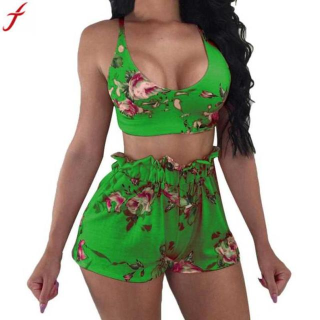 Boho Floral Print Two Piece Set Women 2Pcs Women Tie Back Top And Shorts  Sets Sexy Print Sleeveless Blouse Wear Casual Suit#4