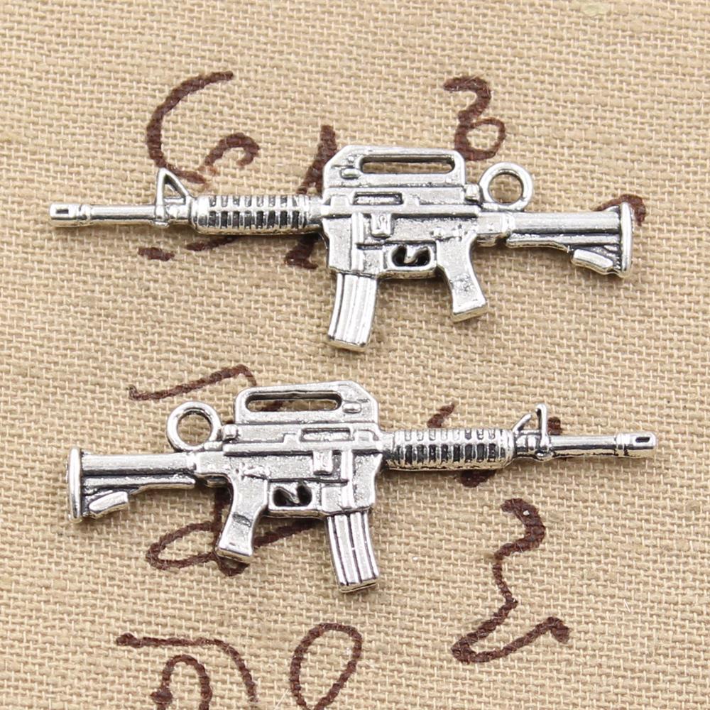 4 шт., амулеты, автоматы, Штурмовая винтовка 45x16 мм, антикварное изготовление, кулон, подходят, винтажные бронзовые тибетские, DIY ювелирные изделия ручной работы|making pendant|antique riflecharm gun | АлиЭкспресс