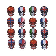 3pcs/lot Halloween skull flag patches France/Italy/Britain/Canada/Turkey/Israel/Norway/Russia/USA Embroidery