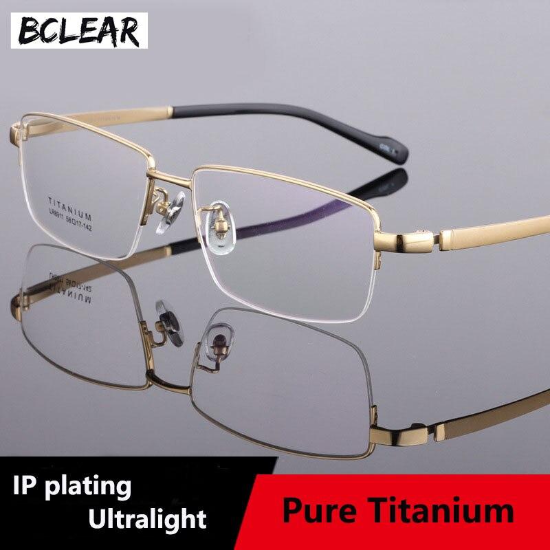 BCLEAR Optical Eyeglasses Ultem Flexible Super Light Weight Prescription Optical Eye Glasses Frame Big Face Businessmen Titanium