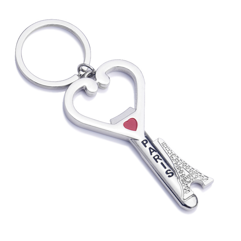 100pcs/lot Novelty Can Bottle Opener Portable Eiffel Tower Heart Pattern Will Not Fade Opener With Key Ring Fashion Gift WA1158
