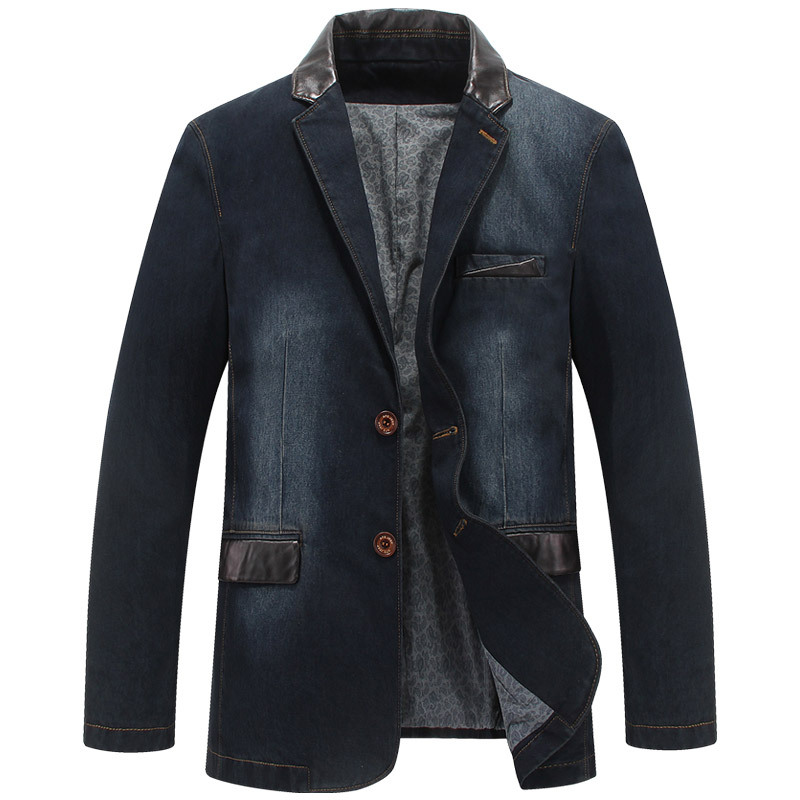 HOCO 2018 Men Denim Suit Stitching Fashion Small Suit