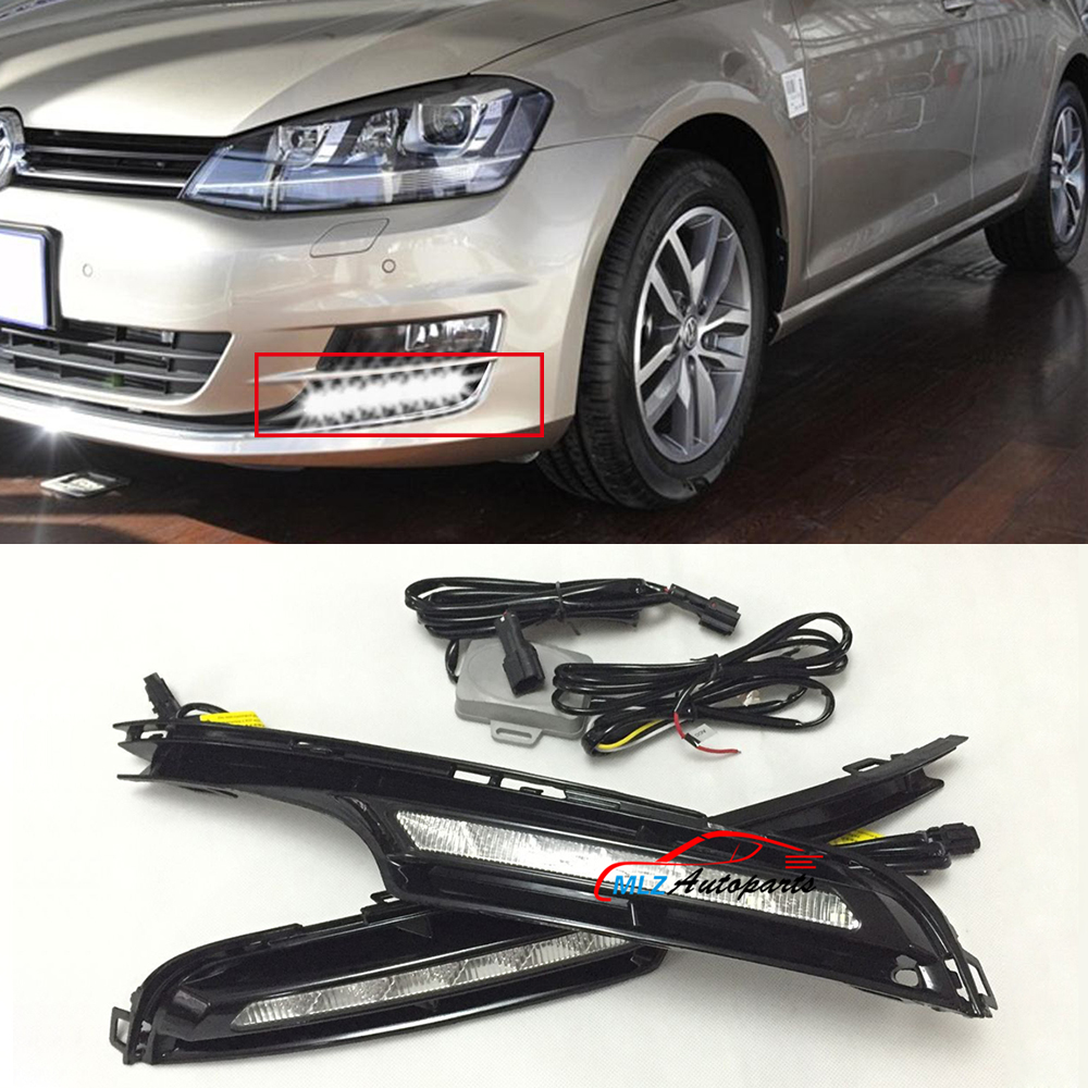 special led day running light cover drl daylight day running lights for vw golf 7 mk7 vii 2014. Black Bedroom Furniture Sets. Home Design Ideas