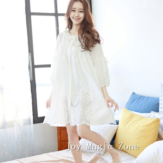 yomrzl L593 2016 new arrival spring and autumn women's nightgown white cotton sleep dress long sleeve sleepwear