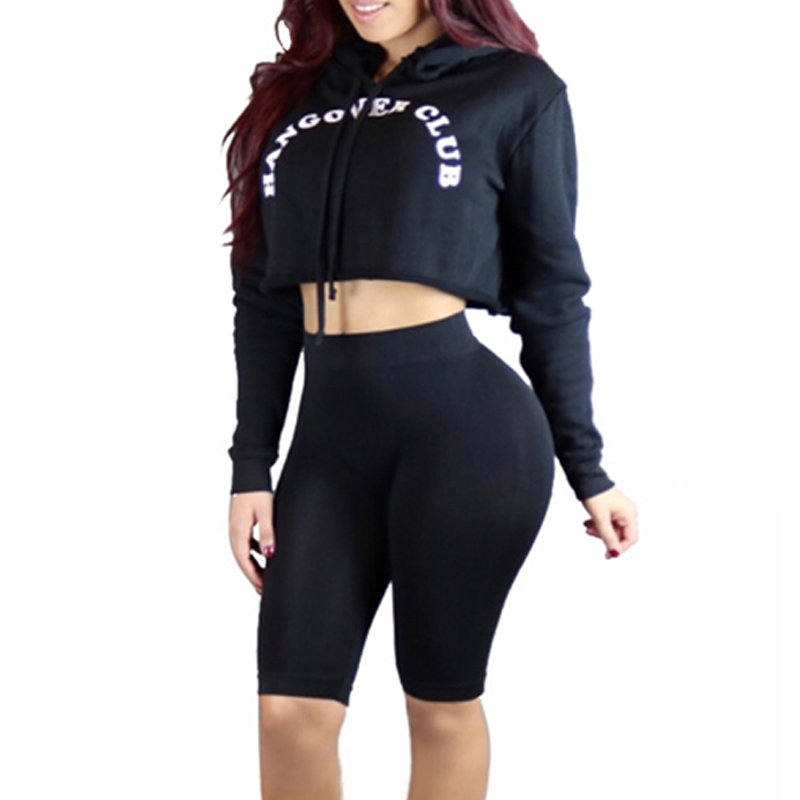 Two Piece Set Summer Crop Top And Pants Tracksuit Womens Shorts To The Knees Outfits Pullover Hoodies Hooded Casual Sweat Suits