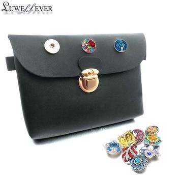 ccfe36470 Marca nueva 004 bolsa botón bolso de la Pu billetera de cuero bolsas de  encantos de la pulsera de la joyería para las Mujeres 18mm botón daWanda  bolsos de ...