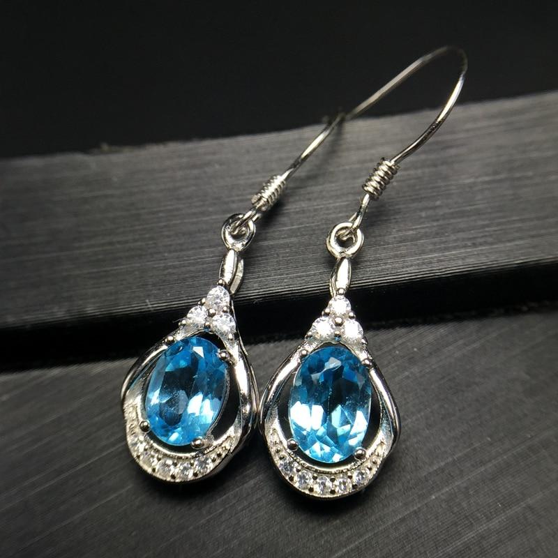 Uloveido Women Blue Topaz Drop Earrings for Women 925 Sterling Silver Dangle Earrings for Women Girls