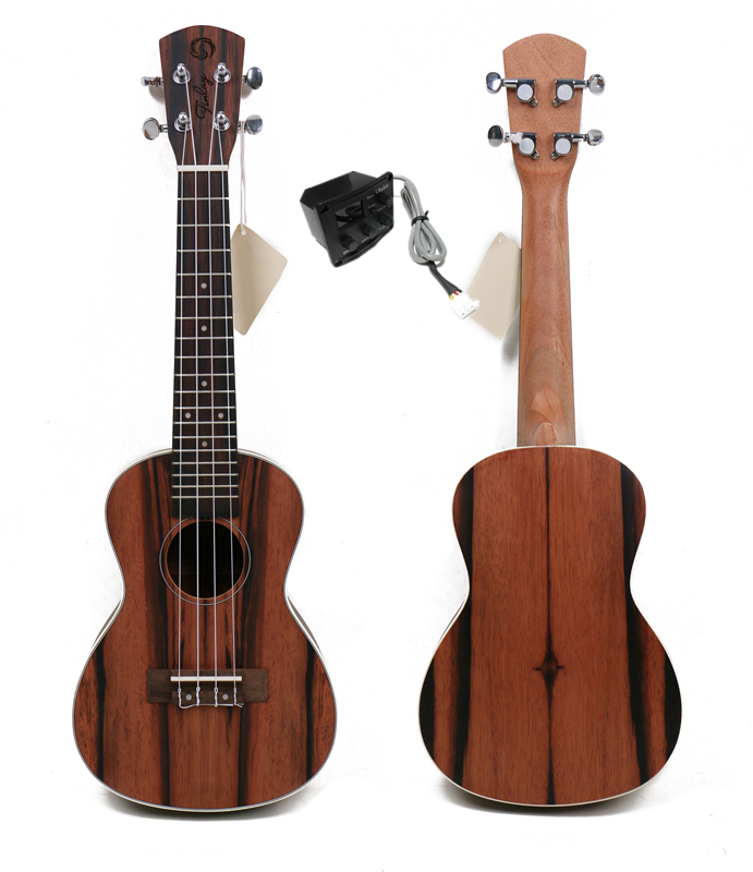 Free shipping 23 Concert ukulele With Full Ebony Top/Body ukulele 23,Hawaii ukelele guitar With 2 band LCD pickup