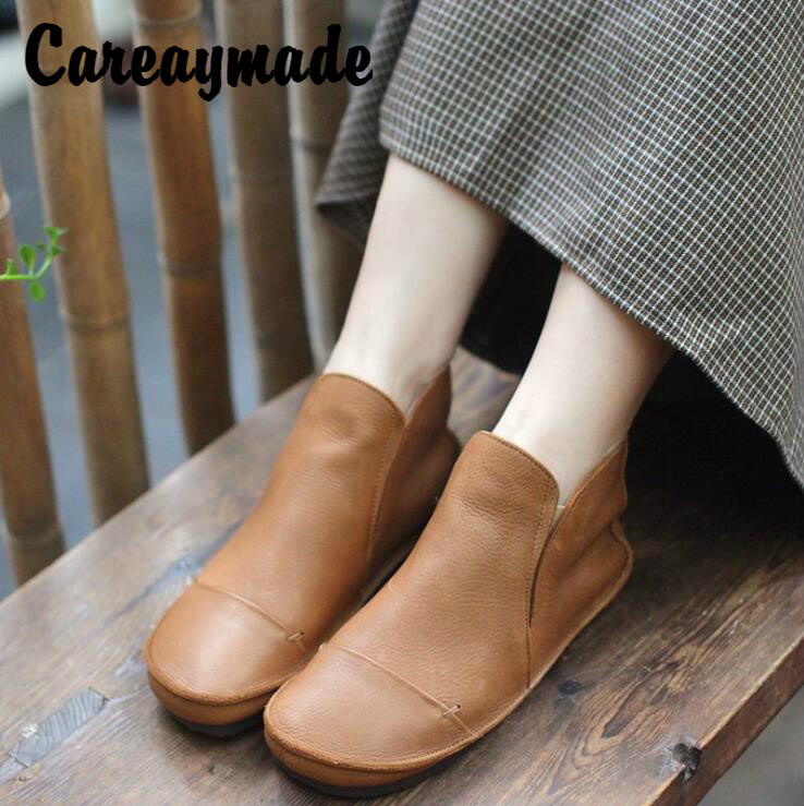 Careaymade-2019 autumn original new genuine leather women's shoes,hand-made flat bottomed round head lace ankle boots round flat bottomed sweet bowknot short boots