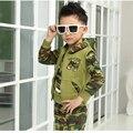 Мальчиков, Одежда С Капюшоном Молния Army Green Дети Комплектов Одежды